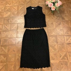Talbots Black Lace 2 Piece Dress